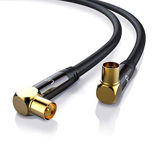 Uplink - 2m 135dB HDTV Antennenkabel 75 Ohm (90° gewinkelt) | Premium Koaxialkabel | Koax Stecker 90° > Koax Kupplung 90° | DVB-T und DVB-T2, Radio (UKW/ DAB / DAB+) | robuste Vollmetallstecker | Abschirmmaß 135dB | hochdichte 4-fach Schirmung | schwarz/gold