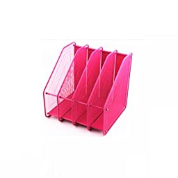 Chris-Wang Assemble Mesh Desk Organizer Office Supply Caddy Paper Holder Desktop File Document Rack with 4 Upright Sections, Pink