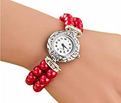 PEARLZ - Fancy Designer Artificial Pearls RD straps casual formal Dress ladies Girls Feminio Analog Quartz Wrist Watch Jewelery Wrist Watch