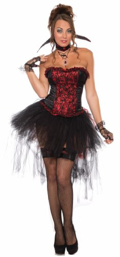 Forum Ruffle and Lace Corset Style Costume Top, Black/Red, One Size