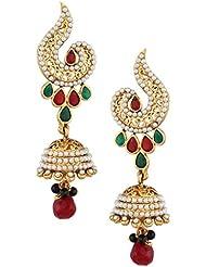 Maroon Green Stones In Cut-work With Pearl Jhumka Indian Vintage Earring ACEAZ004MG
