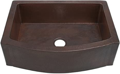 FHA36W1RFS inch Hammermarc Copper Kitchen Rounded Front Apron Front w/Flat Ends