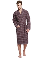 Pure Cotton Winceyette Lightweight Checked Dressing Gown