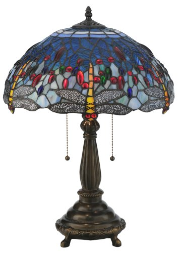 """Meyda Home Indoor Decorative Lighting Accessories 22""""H Tiffany Hanginghead Dragonfly Table Lamp"""