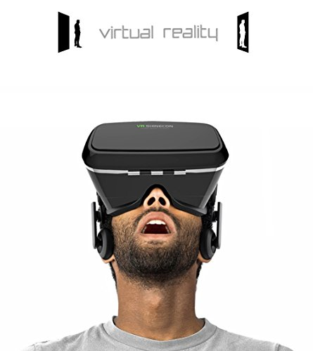 3D VR Glasses Headset Virtual Reality Box with Adjustable Lens and Strap for iPhone 5 5s 6 plus Samsung S3 Edge Note 4 and 4.7-6 inch Smartphone, Ideal for 3d Videos Movies Games