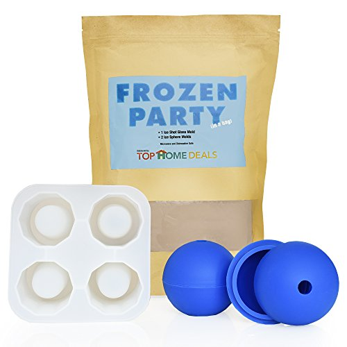 Frozen Party Bag By Top Home Deals- Ice Cube Tray Mold, Create Your Own Shot Glasses + Ice Spheres- Excellent Ice Cooler For Making Ice Cubes With Water, Fresh Juice, Soft Drinks- Ideal Party Gadget (Ice Saver Machine compare prices)