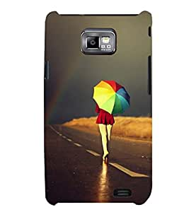 Printvisa Girl Walking With A Multicoloured Umbrella Back Case Cover for Samsung Galaxy S2::Samsung Galaxy S2 i9100