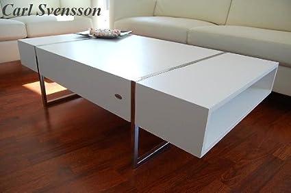 DESIGN COUCHTISCH Tisch Wohnzimmertisch N-111 weiß Chrom Carl Svensson