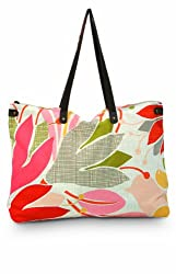 Citta Design 'Floridita' Canvas/Leather Designer Tote Bag Stone/Orange 25 Inches Wide x15 inches Deep