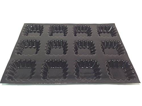 "Sasa Demarle Fp 02171 Square Fluted Tartlet Molds Flexipan, 12 Cavities, 18"" Length, 13"" Width, 1.5"" Height"