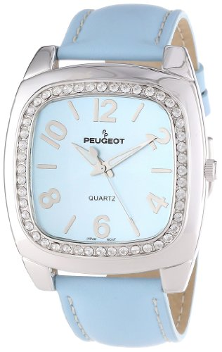 Peugeot Women's 310BL Silver-Tone Swarovski Crystal Accented Blue Leather Strap Watch