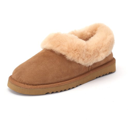 Sheep Touch Women's Balm Twin-Faced Sheepskin Closed-Back Slippers Chestnut Size 6