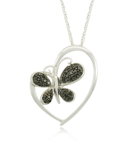Sterling Silver Butterfly Heart Black Diamond Pendant Necklace (1/5 cttw), 18
