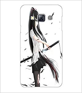 PrintDhaba Girl with Sword D-1203 Back Case Cover for SAMSUNG GALAXY A3 (Multi-Coloured)