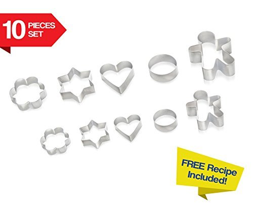 Cookie Cutters 10 PIECE SET by Immys Biscuit Cutter Set With FREE RECIPE - Create Perfect Shaped Cookies - Star Round Heart Gingerbread Man Flower - Mini Cookie Cutters For Kids (Oval Cookie Jar compare prices)