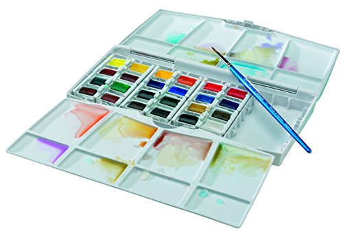 Winsor & Newton Cotman Water Color Pocket PLUS Set of 24 Half Pans (Watercolor Pans compare prices)