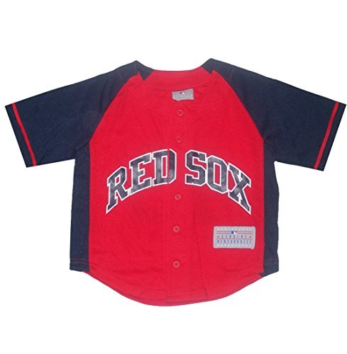 Mlb Boston Red Sox Pedroia #15 Boys Button Down Baseball Jersey S(6/7) Red & Dark Blue front-1079417