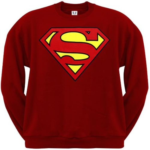 Old Glory Mens Superman - Shield Logo Red Crew Neck Sweatshirt - 2X-Large Red