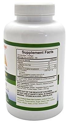 Conjugated Linoleic Acid CLA Supplement - 180 1000mg Organic Safflower Oil Softgel Capsules