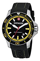 Wenger Sea Force Watch, Black & Yellow Dial Black & Yellow Bezel Black Silicone Strap 641.101