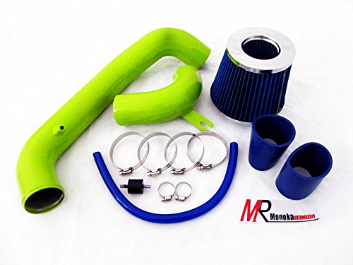 95 96 97 98 99 Dodge Neon Base/Highline/Sport/Competition/ R/T 2.0L L4 Green Piping Cold Air Intake System Kit With Blue Filter