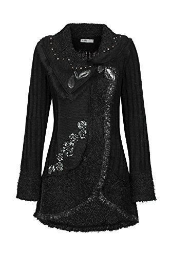 Damen Strick Woll Patchwork Jacke Mantel Strickjacke Wolljacke Patchworkjacke S M L XL, Farbe:Schwarz;Größe:40/42