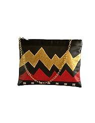 Demure DM 13 Hand Painted Sling Bag (Black Red Gold)