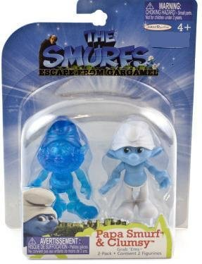 The Smurfs Movie Grab Ems Exclusive Mini Figure 2Pack Papa Smurf Clumsy - 1