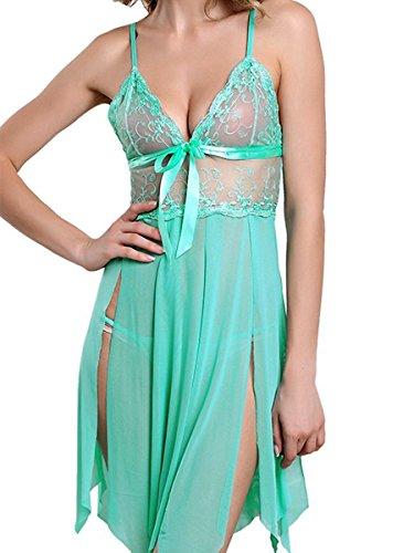 Fasicat Sexy Lingerie Deep-V Lace Babydoll Sling Chemise Sleepwear With G String For Sex Flirt Green 2XL