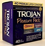 TROJAN Premium Latex Condoms 40ct - Pleasure Pack