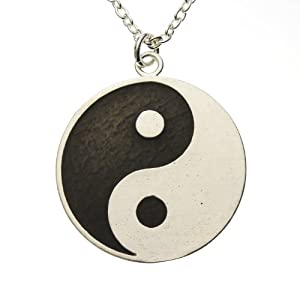Yin Yang Symbol Silver-dipped with Black Enamel Finish on 18