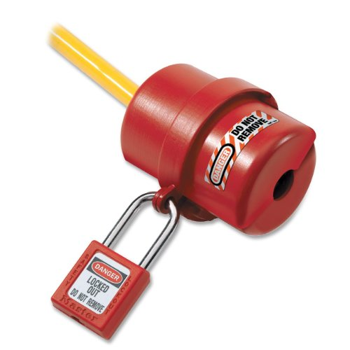 Master Lock 487 Electrical Plug Lockout, Circular 240/120 Volt Plug, Red