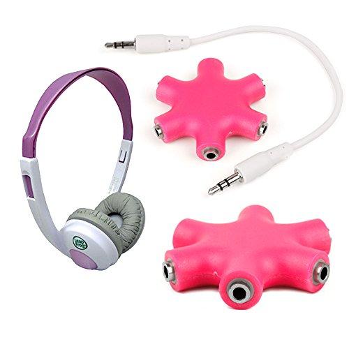 """Duragadget Neon Pink 5-Way Headphone Splitter """"Star"""" For Leapfrog Explorer Headphones"""