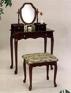 Cherry Finish Vanity Set w/Tapestry Stool - Vanity Set by Coaster Furniture