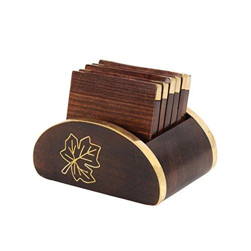 jour cadeau de m re dessous de verre pour les boissons en bois jeu de 4 avec support maple. Black Bedroom Furniture Sets. Home Design Ideas