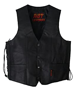 Hot Leathers Men's Heavy Weight Leather Vest (Black, XXX-Large)