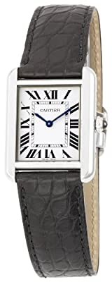 "Cartier Women's W5200005 ""Tank Solo"" Stainless Steel Dress Watch with Leather Band"