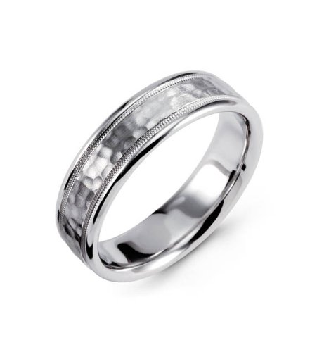 14k White Gold Wedding Band Hammered Milgrain Ring