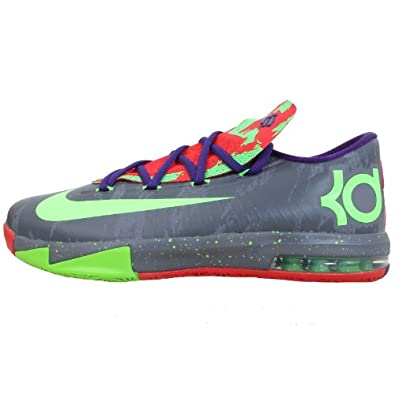 Nike Kid's KD VI GS, GREY / GREEN, Youth Size 6.5