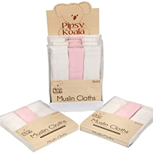 PIPSY KOALA Muslin Cloths 3 Pack (White Pink) en BebeHogar.com