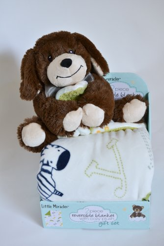 Little Miracles Reversible Blanket with Cozy Plush 2 Piece Gift Set - Brown Puppy - 1