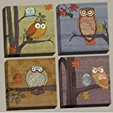 Awesome Owls Stretched Canvas 4 Pack 8x8 Inches (Stretched Canvas 12x12 4-Pack)