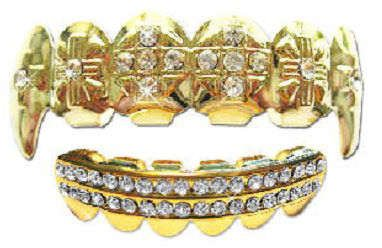 Hip Hop 14K Gold Plated Removeable Mouth Grillz Set (Top & Bottom) Cross Iced Fangs