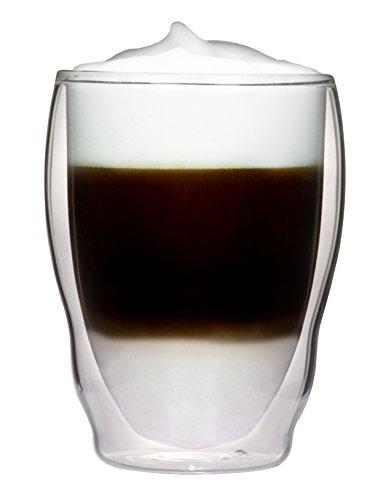 1x 460ml XL doppelwandige Thermogläser Wellenform mit Schwebe-Effekt für Cappuchino, Latte Macchiato, Cocktails, Tee, Säfte, Bier, Eis uvm. Aquartus von Feelino