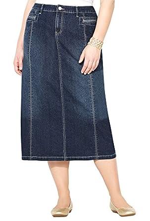 Avenue Womenu0026#39;s Long Denim Skirt at Amazon Womenu2019s Clothing store