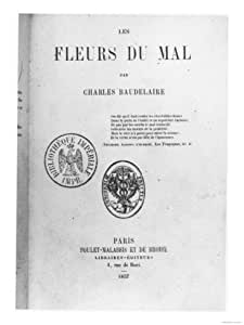 """Front Cover of the First Edition of """"Les Fleurs Du Mal"""" by Charles Baudelaire (1821-67) Giclee Print Art (12 x 16 in)"""