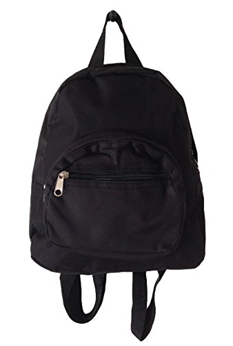 Mini Backpack Purse 11-inch, Zipper Front Pockets Teen Child (Solid Black) - 1