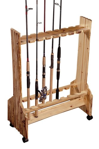 16 fishing rod rolling rack reel holder log cabin style for Horizontal fishing rod rack