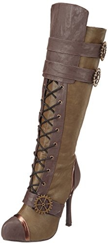 ELLIE-420-QUINLEY-4-Knee-High-Steampunk-Boot-With-Laces-Women-Green-8-Size