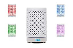 Heka Living Essential Oil Diffuser Humidifier - Hand Finished Ceramic Lid - 7 Color LED Light - 100 ml - Continuous On - Intermittent Mist - Ultrasonic Aromatherapy Humidifier - Safe Auto Off Function
